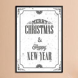 Merry christmas & happy new year A - A4 인테리어 메탈액자