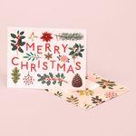 HOLIDAY PLANTS MERRY CHRISTMAS CARD CREAM