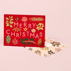 HOLIDAY PLANTS MERRY CHRISTMAS CARD RED