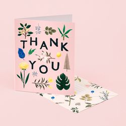 ASSORTED BOTANICAL THANK YOU CARD PINK