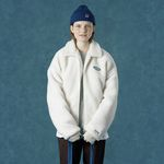 Rubber fleece jacket-ivory
