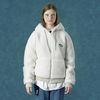 Rubber fleece hoodie zipup-ivory