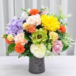 오렌지팜팜 산소 꽃 다발 조화 실크플라워