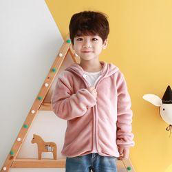 [엔비키즈] 극세사 아동 후리스 핑크 후드집업 바람막이 점퍼