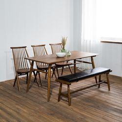 렌토 원목 테이블 1600 세트(의자3+벤치)