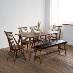 렌토 원목 테이블 1600 세트(의자4+벤치)