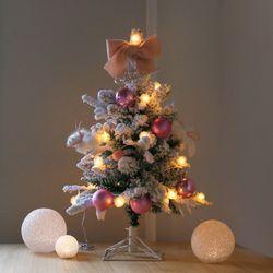 윈터 크리스마스 스노우트리 SET-핑크(60cm)+눈꽃전구(건전지용)