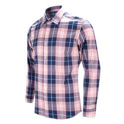 핑크 네이비 타탄 체크 슬림 긴팔 셔츠DWL38-3