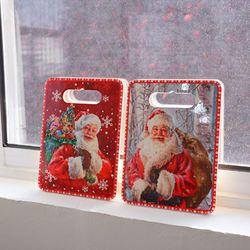 크리스마스 산타 사각 냄비받침 (2style)