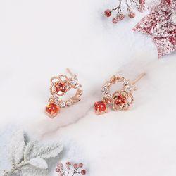 겨울에 피는 꽃 스노우 까멜리아 실버 귀걸이 CLER18C72PPR