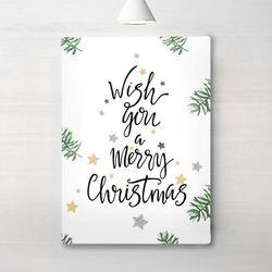 인테리어 액자 포스터 위 위시 유어 크리스마스 그린 캔버스 6호