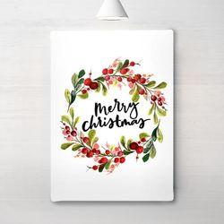 인테리어 액자 포스터 메리 크리스마스 리스 캔버스6호