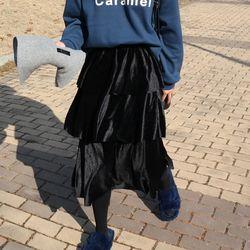Cancan velvet skirt