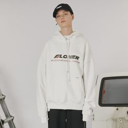 Stitch point hoodie -white