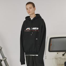 Stitch point hoodie -black