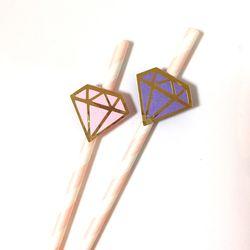 [브라이덜샤워 파티용품] 다이아몬드 페이퍼 스트로우 (2p1set)