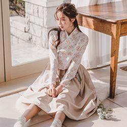 생활한복세트 벚꽃화+수화 베이 원피스sets