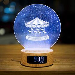 회전목마 무드등 스피커 시계