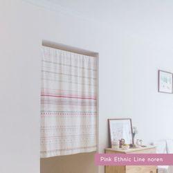 핑크 에스닉라인 노렌 텐션봉포함 80x140cm
