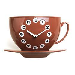 커피잔벽시계 브라운