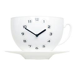 커피잔벽시계 화이트