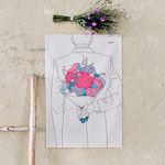 꽃다발 패브릭 포스터.가리개커튼 (M 사이즈)