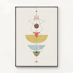 메탈 인테리어 패턴 포스터 액자 기하학 믹스 플라워 1 [대형]