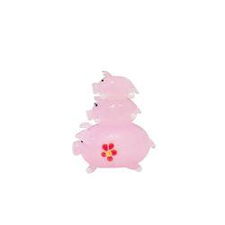 유리 미니어쳐 핑크돼지 가족