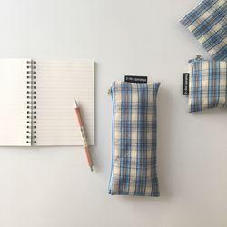 블루 믹스 체크 필통(Purple check pencil case)