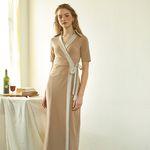 Long Wrap Dress Beige