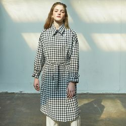 Gingham Check Trench Coat