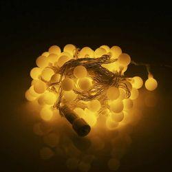 LED트리 볼앵두 투명선 100구 황색 연결형 크리스마스트리 장식