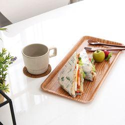튼튼한 나뭇결 무늬 샌드위치 쟁반