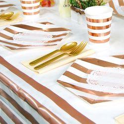 테이블보 줄무늬 로즈골드