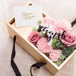 비누 카네이션 용돈 박스(핑크-투명뚜껑)