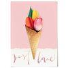 중형 패브릭 포스터 F270 튤립 식물 천 액자 아이스크림 꽃 B