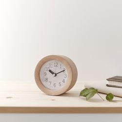 바나나 바닐라 원형 비치우드 무소음 알람시계 탁상시계