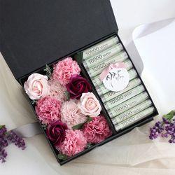 비누꽃 카네이션 용돈박스(3color)-와인&핑크