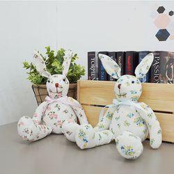 플라워 패브릭 토끼 커플인형 2P세트
