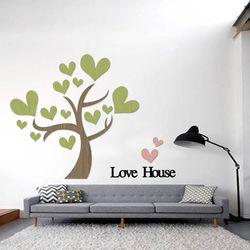입체 우드 포인트 스티커 레터링 그랙픽 벽지 DIY 하트나무