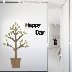 입체 우드 포인트 스티커 레터링 그랙픽 벽지 DIY 화분나무
