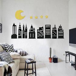 입체 우드 포인트 스티커 레터링 그랙픽 벽지 DIY 도시