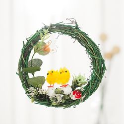봄 풍경 병아리 리스(15cm-그린)
