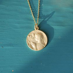 Maria Gold Medal Silver Necklace (마리아 실버 목걸이)