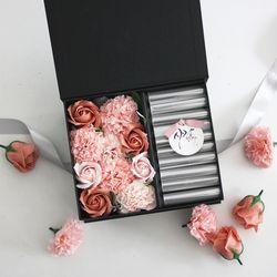 비누꽃 카네이션 용돈박스(3color)-피치베이지&핑크