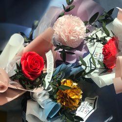 어버이날 토퍼 카네이션 장미 한송이꽃다발 (4종)