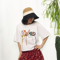 컬러풀 레터링 화이트 오버핏 티셔츠n426