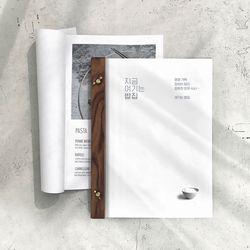 애쉬탄화 우드 플랫 메뉴판 디자인 레스토랑 메뉴판