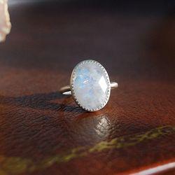 달과 당신의 거리- 사랑의 문스톤 Silver Ring (6월 탄생석)