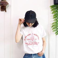 일러스트 슬라브 코튼 반팔 티셔츠n514